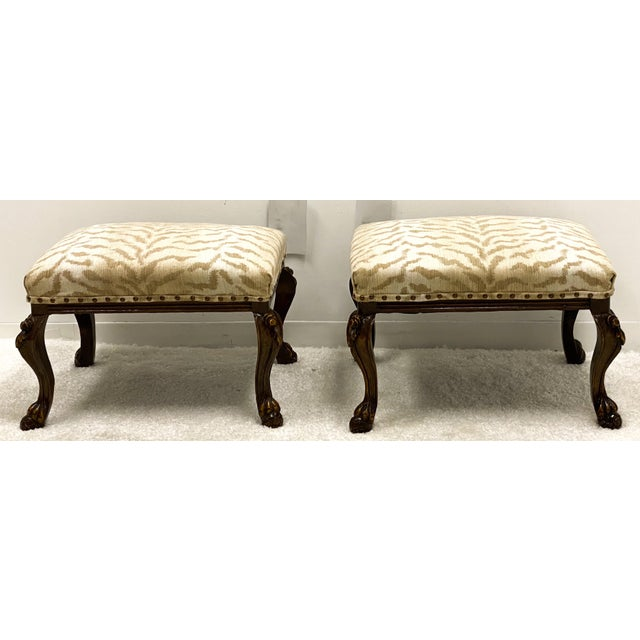 French Vintage Carved Walnut French Style Ottomans-A Pair For Sale - Image 3 of 4