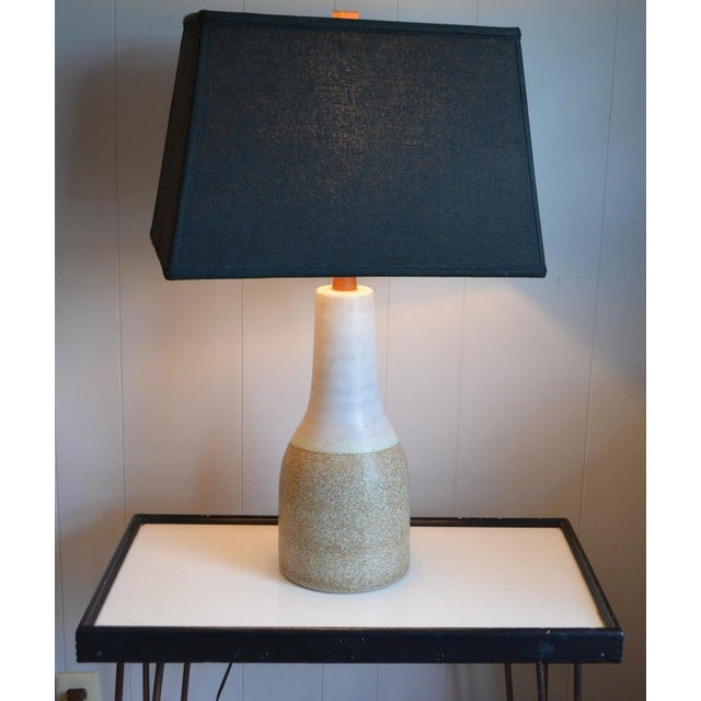 Martz Ceramic Table Lamp, Mid Century, With Walnut Height Extender and Finial For Sale - Image 11 of 12