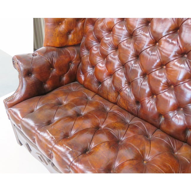 Brown Leather Chesterfield Settee & Carved Skirt - Image 5 of 7