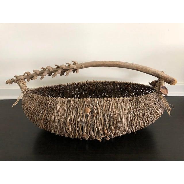 Brown Organic Modern Samuel Yao Handwoven Basket For Sale - Image 8 of 9