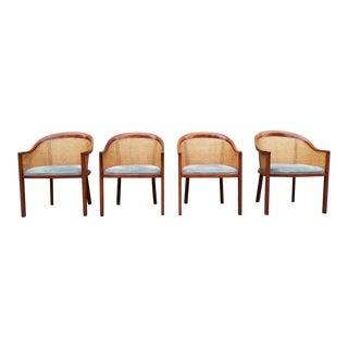 1980s Vintage Exquisite Signed Ward Bennett Caned Barrel Back Dining Chair For Sale