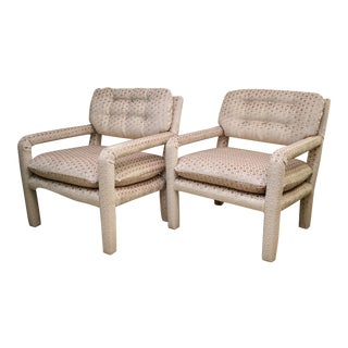 Vintage Mid-Century Baughman Style Jim Thompson Fabric Chairs - A Pair For Sale