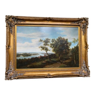 Pastoral Setting Oil Painting in Gold Frame For Sale