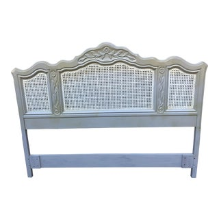 Drexel Heritage Cabernet Classics Full/Queen Painted Caned Headboard For Sale