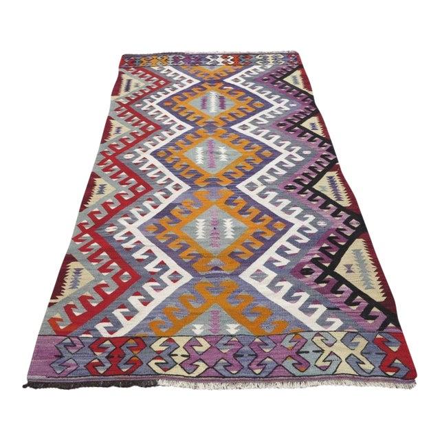 """Vintage Turkish Kilim Area Rug - 4'1"""" x 7'7"""" - Image 1 of 3"""