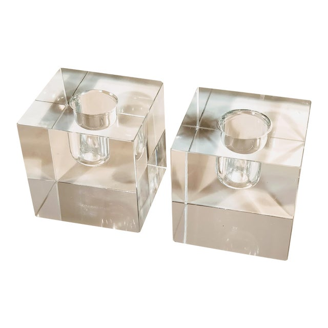 Vintage Tiffany & Co Crystal Candle Holders - a Pair For Sale
