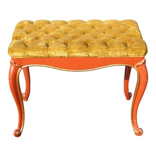 Vintage French Provincial Red Laquer Tufted Gold Velvet Bench For Sale