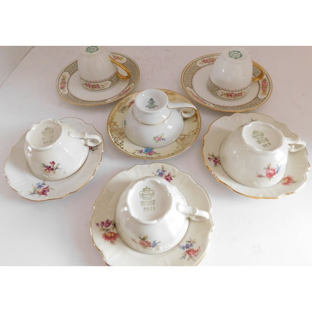 1920s Antique Porcelain Demi-Tasse Cups & Saucers German and Limoges MIX and Match Sets - Service for 6 For Sale - Image 5 of 13