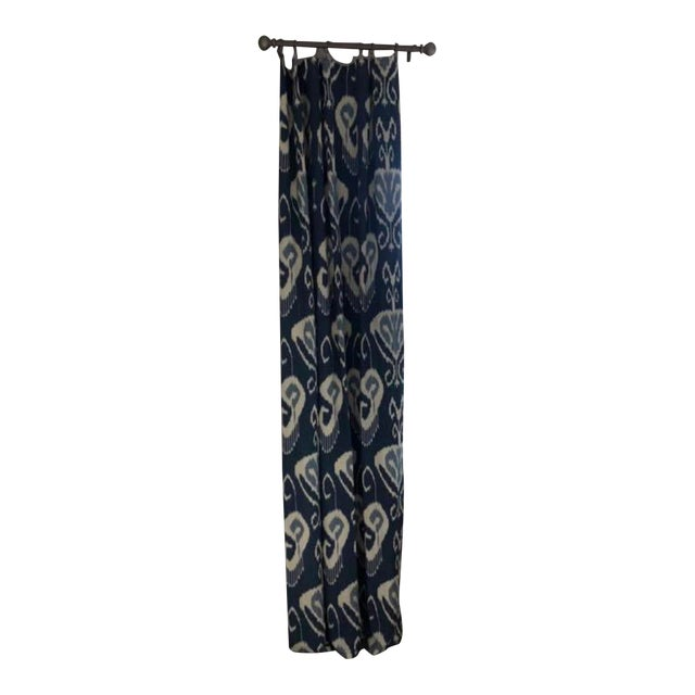 Blue Ikat Curtain Panels - A Pair For Sale