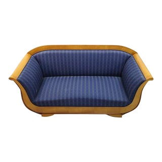 French Vintage Biedermeier Sofa W Blue Upholstery For Sale