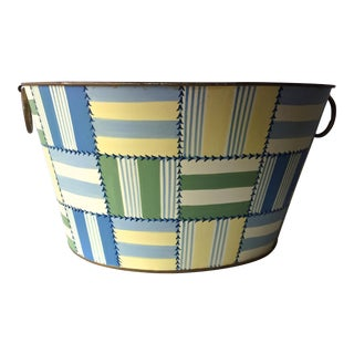 Tole Hand-Painted Madras Patchwork Bin-17""