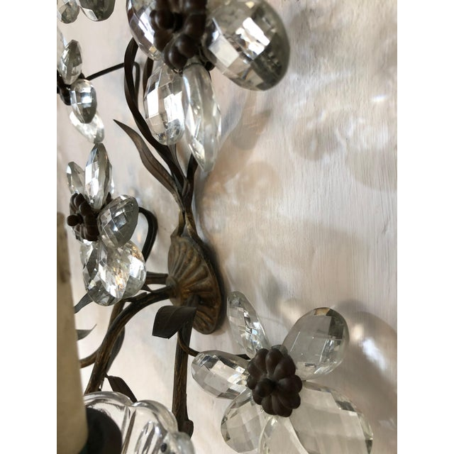 Huge Clear Flower Maison Bagues Style Three-Light Sconces For Sale In Los Angeles - Image 6 of 10