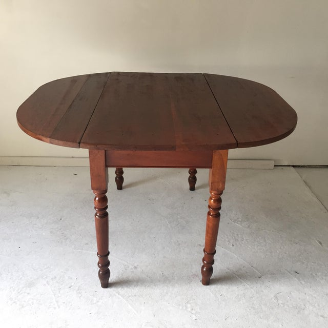 Country Antique Hardwood Country Plank Table Drop-Leaf Opens to 42 X 47 X 30 Refinished For Sale - Image 3 of 3