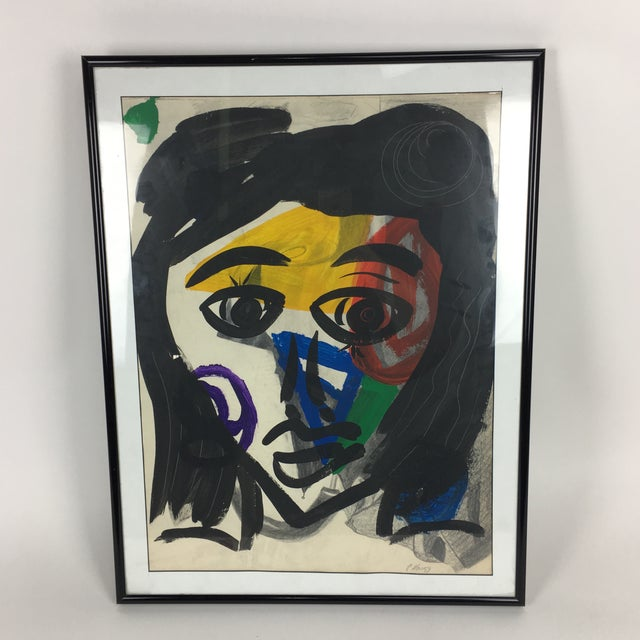 Exceptional Early Abstract Face Colorful Painting by Peter Keil. This piece was executed with oil on paper and depicts a...