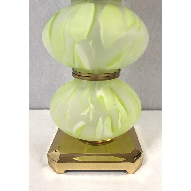 Italian Mid Century Modern Green Italian Murano Glass Ball Lamps - a Pair For Sale - Image 3 of 5