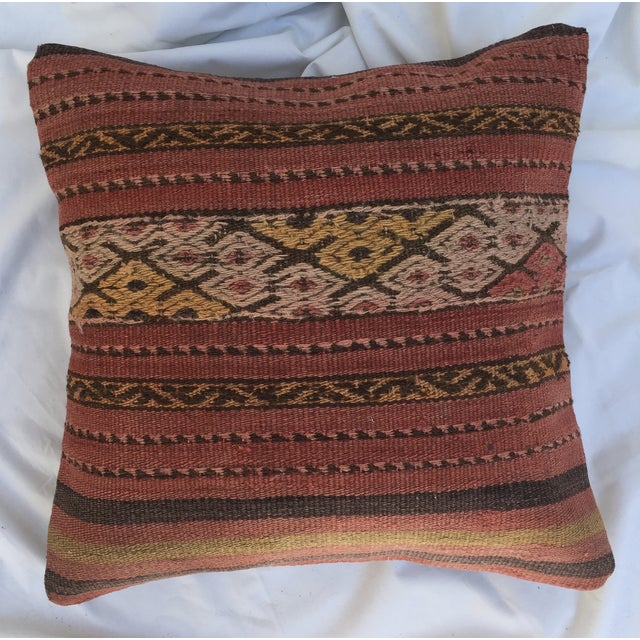 Rustic Southwestern Woven Kilim Striped Pillow For Sale - Image 3 of 7