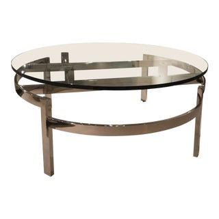 Swaim Contemporary Glass and Polished Stainless Steel Cocktail Table For Sale