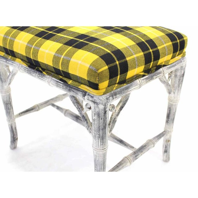 Pair of Faux Bamboo White Wash Finish Yellow Black Plaid Upholstery Benches For Sale In New York - Image 6 of 7
