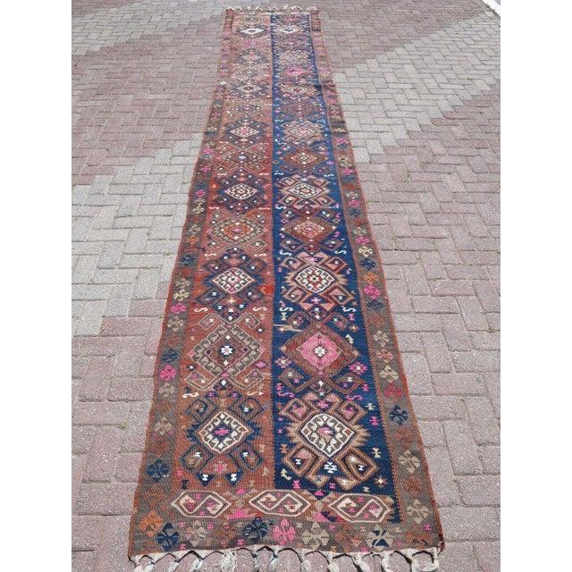 Textile Vintage Turkish Van Kilim Runner- 3′3″ × 17′2″ For Sale - Image 7 of 13