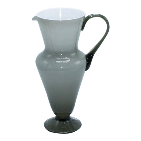 Gray Balboa White Cased Murano Glass Pitcher, C. 1960 For Sale