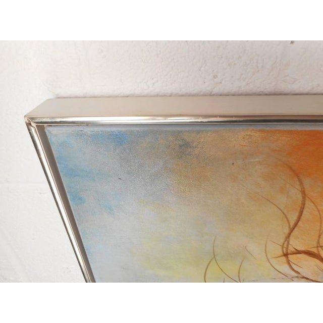 Metal Mid-Century Modern Floral Abstract Painting For Sale - Image 7 of 8