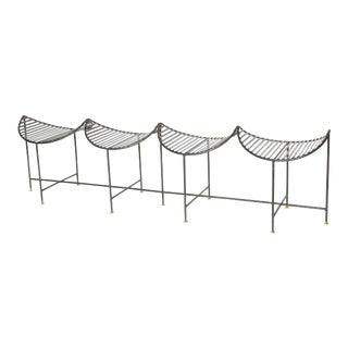 Awesome Four-Seat Slatted Iron and Brass Bench