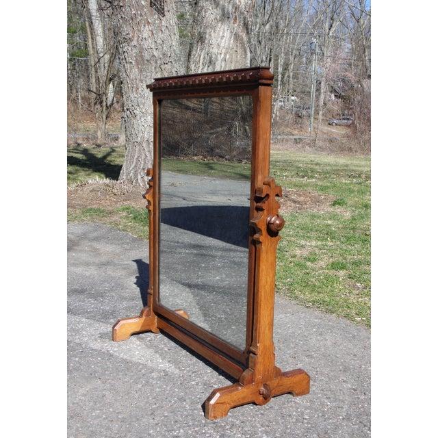 Antique Heavy Oak Wood Frame Free, Free Standing Swivel Mirror