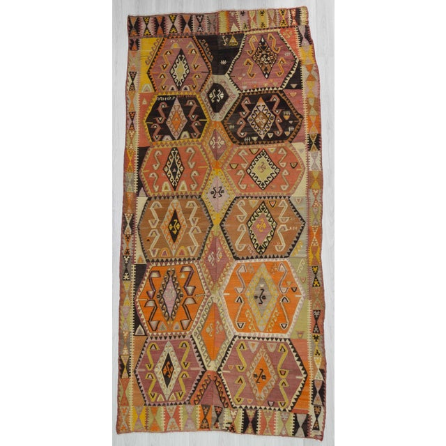 Vintage Turkish Handwoven Colorful Kilim Rug - 5′11″ × 12′5″ For Sale In Los Angeles - Image 6 of 6