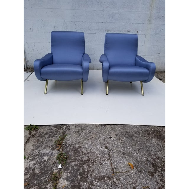 Pair of Marco Zanuso Armchair, Model Lady, Arflex France Editeur, Early Edition. Circa 1950 Solid Wood Chassis Totally...