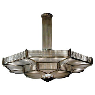 Important Palatial French Modernist Glass and Nickel Two-Tier Chandelier Petitot For Sale