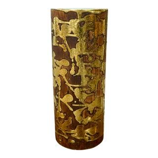 Teal & Gold Signed Vase For Sale