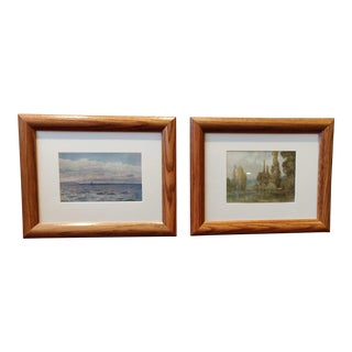 Early 20th Century Antique English Watercolor Prints - A Pair For Sale