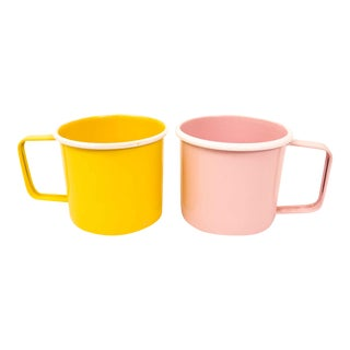 Mid-Century Pastel Enamel Mugs - a Pair For Sale
