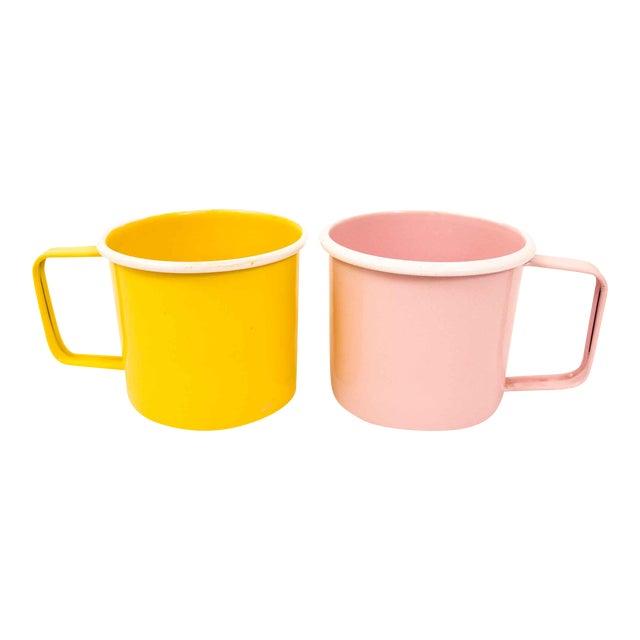 Mid-Century Pastel Enamel Mugs - a Pair For Sale