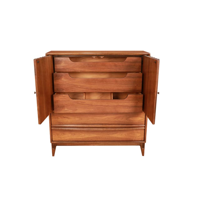 Mid-Century Modern Mid Century High Boy Gentleman's Chest Dresser Louvered Front For Sale - Image 3 of 11
