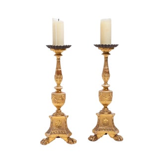 Pair of Antique Continental Neoclassical Giltwood Pricket Candlesticks For Sale