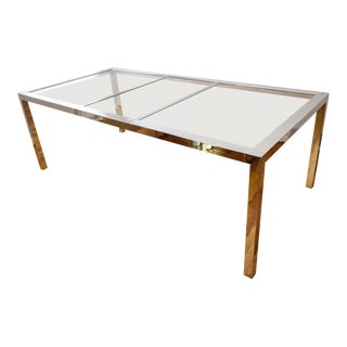 1970s Modern Milo Baughman Chrome and Glass Dining Table For Sale