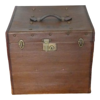 Diminutive Antique English Leather Trunk For Sale