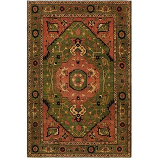 Southwestern Heriz Peshawar Sheena Green/Pink Wool Rug - 8'4 X 9'10 For Sale