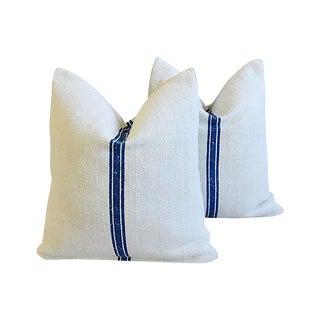 Custom French Blue Striped Grain Sack Feather/Down Pillows - Pair
