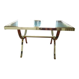 1970s Mid-Century Modern Baughman Dia Chrome Brass Glass Extendable Dining Table For Sale