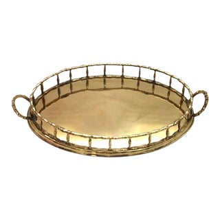 Brass Faux Bamboo Round Tray For Sale