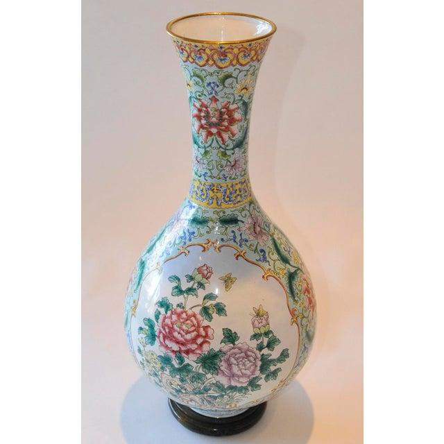 Asian Vintage Chinese Enamel Vase, Flora & Fauna Details For Sale - Image 3 of 11