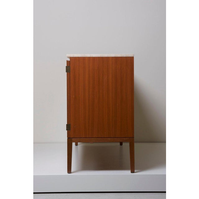 Mid-Century Modern Travertine Top Paul McCobb Credenza or Sideboard 7306 for Directional / Wk Möbel For Sale - Image 3 of 9
