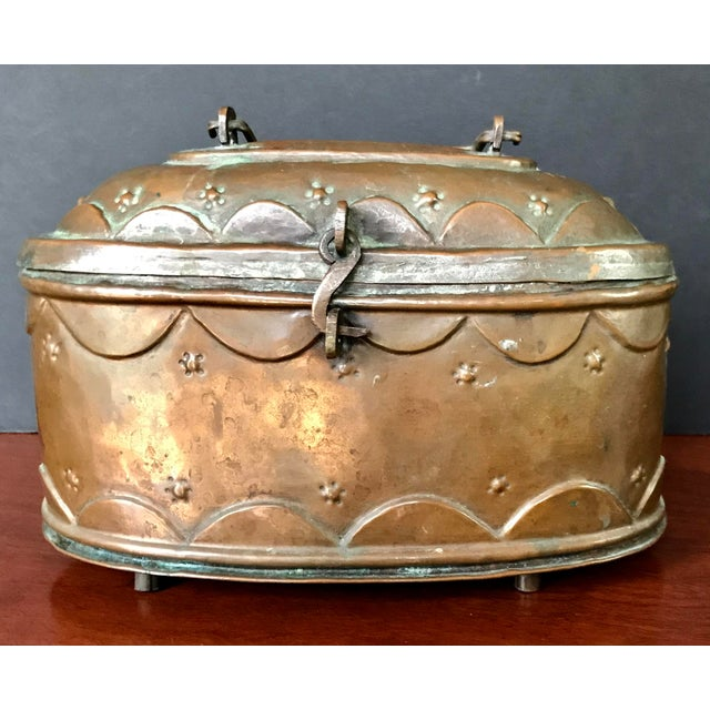 Vintage copper Turkish bath lidded soap box lined in tin. Beautifully-aged natural patina. Pierced holes on the bottom....
