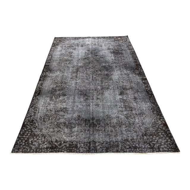 Turkish Vintage Wool Dark Gray Rug - 5′5″ × 9′3″ For Sale