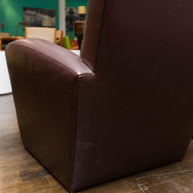Holly Hunt Holly Hunt Brown Leather Swivel Chairs For Sale - Image 4 of 11