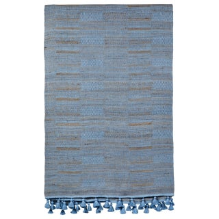 Indian Handwoven Bedcover Hand Blue For Sale
