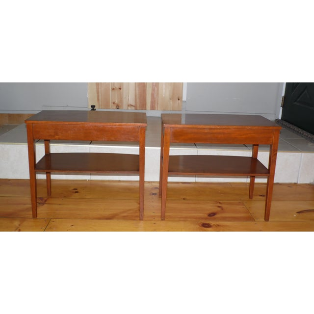 Vintage Pair Traditional Federal Mahogany End Tables Nightstands Mersman Tables For Sale - Image 11 of 13