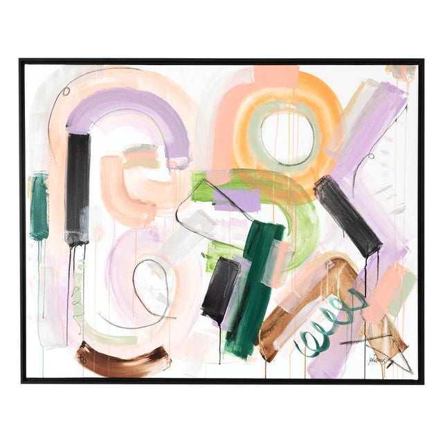 Original painting by Jen Ramos. Signed, unframed. Size: 48″ x 38″. Shown in a black floater frame - - note that work is...